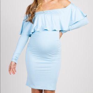 Pink Blush blue maternity dress